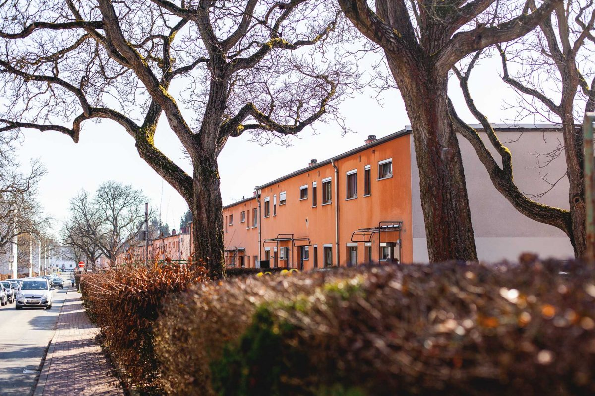 Reihenhäuser der Siedlung Westhausen in Praunheim